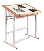 Oak Trimed Adjustable Steel Light Table - Alva-Trace