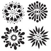 15cm x 15cm Design Template 4 Flowers