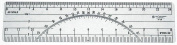 C-Thru W39 15cm . Protractor Ruler 20 and 40 Parts To The Inch