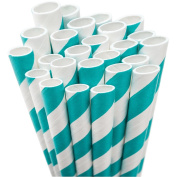 Jumbo Straw Unwrapped 20cm 50/Pkg-Aqua & White Striped