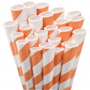 Jumbo Straw Unwrapped 20cm 50/Pkg-Orange & White Striped