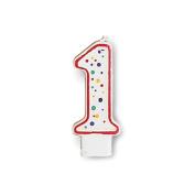 Polka Dot Numeral Candles 7.6cm x 3.8cm 1/Pkg-1