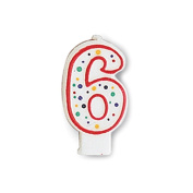 Creative Converting CANDLE-4565 Polka Dot 6 Numeral Candle, 7.6cm x 3.8cm Multi-Coloured