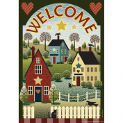 Garden Flags-Colonial Houses Welcome
