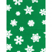 Seasonal Felt 23cm x 30cm -Snowflake-White Glitter W/Pirate Green