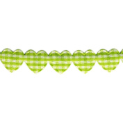 Gingham Hearts Puff Trim 15mm X 11 Yards-Green