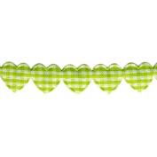 Gingham Hearts Puff Trim 15mm X 11 Yards-Green