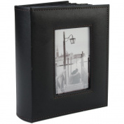Sewn Frame Photo Album 18cm x 23cm 200 Pockets-Black