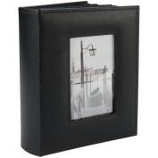 Sewn Frame Photo Album 18cm x 23cm 200 Pockets-Black