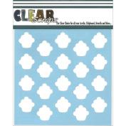 Clear Scraps Stencils 15cm x 15cm -Cupcakes
