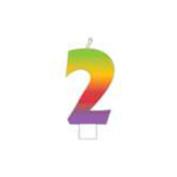 Rainbow Candle 1/Pkg-Numeral 2