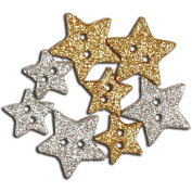 Favourite Findings Buttons-Sparkly Stars Silver & Gold 8/Pkg