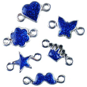 Loom Band Charms 6/Pkg-Navy Blue Glitter Assorted