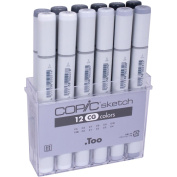 Copic Sketch Grey Marker 12pc Set-Cool Grey
