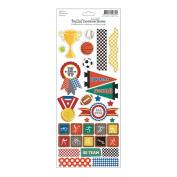Bella! Sport Embossed Cardstock Stickers 11cm x 30cm -