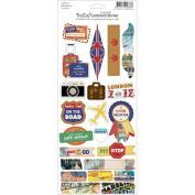 Bella! Travel Embossed Cardstock Stickers 11cm x 30cm -