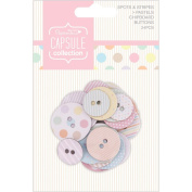Papermania Spots/Stripes Pastels Chipboard Buttons-24/Pkg