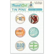 Travel Girl Tin Pins 6/Pkg-