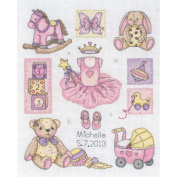Girl Birth Record Counted Cross Stitch Kit-23cm - 1.3cm x 20cm 16 Count