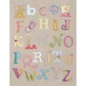 Alphabet Sampler Free Style Embroidery Kit-30cm x 24cm Stitched In Cotton Floss