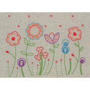 Fleur Free Style Embroidery Kit-15cm x 20cm Stitched In Cotton Floss