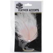 Feather Corsage-Hackle Chand W/Stone Champagne/White