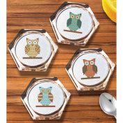 Owl Coaster Set Counted Cross Stitch Kit-9.9cm Hexagon 18 Count Set Of 4