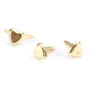 Mini Metal Paper Fasteners 100/Pkg-Gold Hearts 100/Pkg