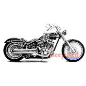 Deep Red Cling Stamp 6.4cm x 3.2cm -Motorcycle