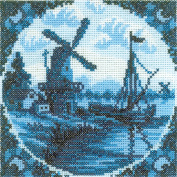 Antique Dutch Tiles Windmill II Counted Cross Stitch Kit-10cm - 0.6cm x 11cm 14 Count