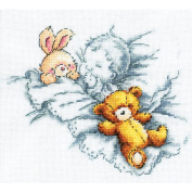 Baby W/Rabbit & Teddy Bear I Counted Cross Stitch Kit-20cm x 18cm 14 Count