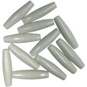 Imitation Bone Beads 37mm 12/Pkg-White