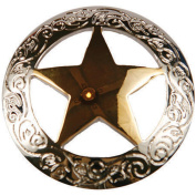 Concho 2.5cm Silver/Gold 1/Pkg-Engraved Star