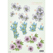 3D Die-Cut Decoupage Sheet 21cm x 30cm -Polka Dot Flowers