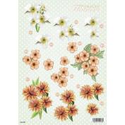 3D Die-Cut Decoupage Sheet 21cm x 30cm -Polka Dot Flowers
