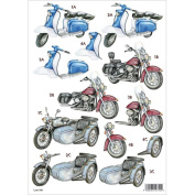 3D Die-Cut Decoupage Sheet 21cm x 30cm -Motorcycles