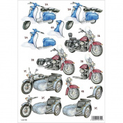 3D Die-Cut Decoupage Sheet 21cm x 30cm -Motorcycles
