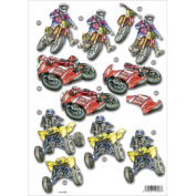 3D Die-Cut Decoupage Sheet 21cm x 30cm -Motocross