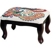 "Mahogany Classic Footstool 30cm x 43cm X23cm -Design Area 9"" x 36cm"
