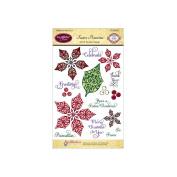 JustRite Papercraft Clear Stamp Set 10cm x 15cm -Festive Poinsettia 16pcs