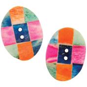 Handmade Bone Buttons-Oval Checkerboard 34mm 2/Pkg