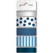 Necessities Decorative Tape 4 Rolls/Pkg-Blues/Glitter, Print & 2 Foil