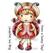 La-La Land Cling Mount Rubber Stamps 10cm x 7.6cm -Ladybug Marci