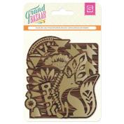 Grand Bazaar Laser-Cut Wooden Tags-Gold Screenprint