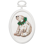 Polar Bear Mini Counted Cross Stitch Kit-7cm Oval 18 Count
