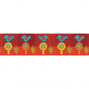 "Sue Spargo 1-1/2"" (38mm) X 27 Yards-Folkloric Blue Bird On Red"