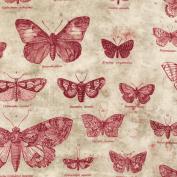 Eclectic Elements-Tim Holtz 110cm 100% Cotton D/R-Butterflies-Red
