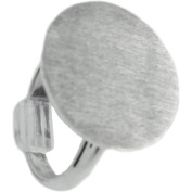 Designer's Adjustable Flat Round Ring 20mm 1/Pkg-Silver Overlay
