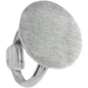 Designer's Adjustable Flat Round Ring 20mm 1/Pkg-Silver Overlay