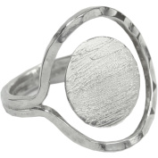 Designer's Semi-Adjustable Flat Round Ring 15mm 1/Pkg-Silver Overlay